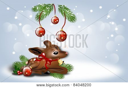 Christmas Background With Fawn