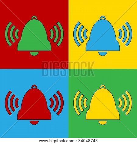Pop Art Bell Symbol Icons.