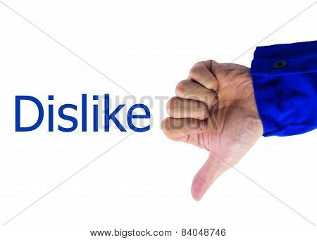 Real Hand Of Thumbs down sign On White Background