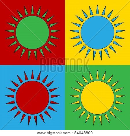 Pop Art Sun Symbol Icons.