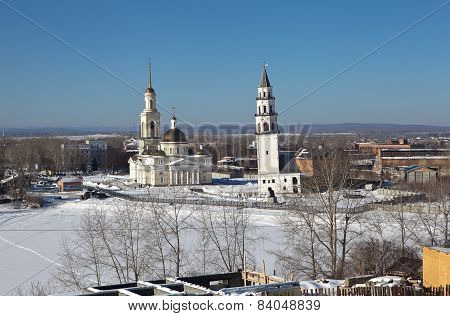 Demidov's leaning tower and the Transfiguration Cathedral. Nevyansk. Sverdlovsk region. Russia.