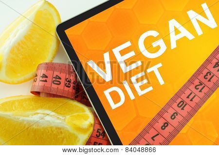Vegan diet on tablet.