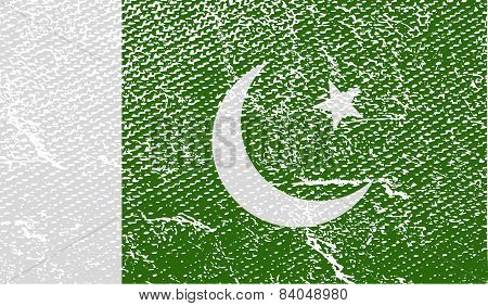 Flag Of Pakistan With Old Texture. Vector