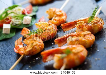 Roasted Shrimp Starter On Skewer.