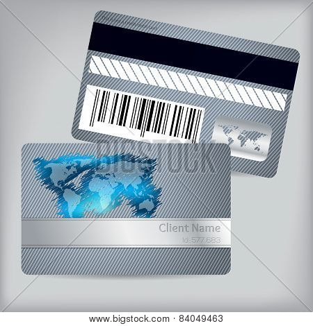 Loyalty Card With Scribbled Map And Striped Background