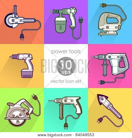 Power tool set. Vector illustration