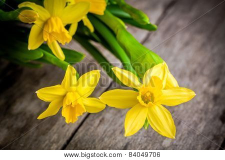 Bouquet Of Bright Yellow Daffodils Closeup On A Rustic Wooden Background
