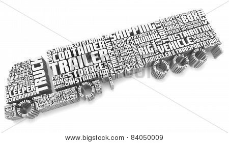 3D Words Shaping A Truck With Trailer Aerial View
