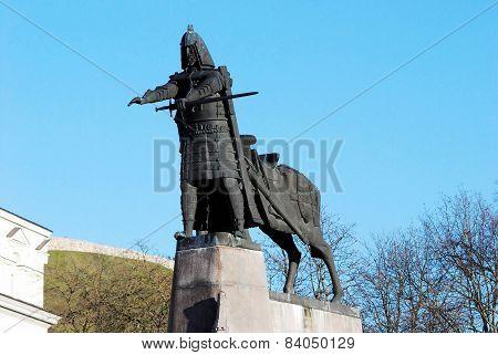 Grand Duke Gediminas With Horse Monument In Vilnius