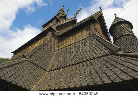 Exterior detail of the Hopperstad stave church in Vik, Norway.