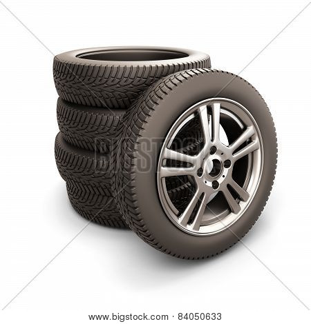 Stack Of Car Tires And Car Wheel