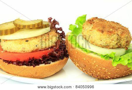 Vegan Sea Burger Isolated On White Background