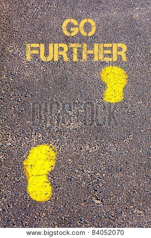 Yellow Footsteps On Sidewalk Towards Go Further Message