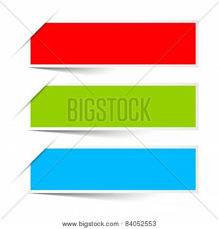 Red Green Blue Empty Paper Vector Labels Set Isolated on White Background