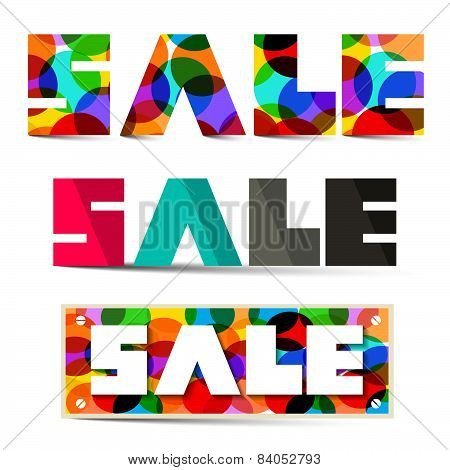 Sale Colorful Vector Titles Set