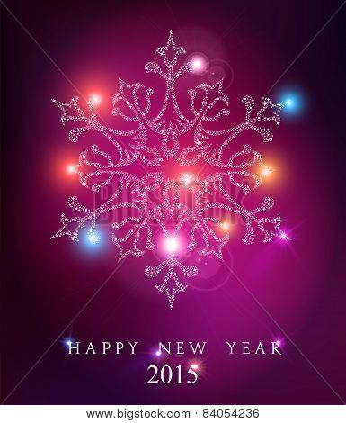 Happy New Year 2015 Elegant Card Background