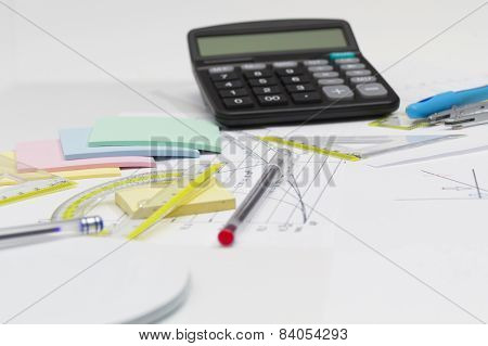 Drawing Tools With Pen And Calculator