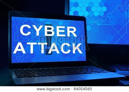 Computer with words cyber attack.