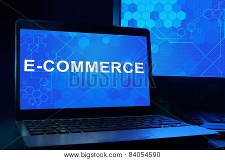 Computer with words e-commerce.