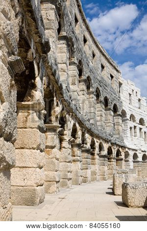 The Wall Of Roman Amphitheatre In Pula