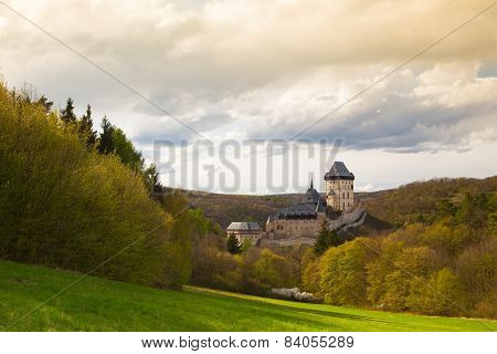 Famous Karlstejn Castle  In Autumn Forest,czech Republic