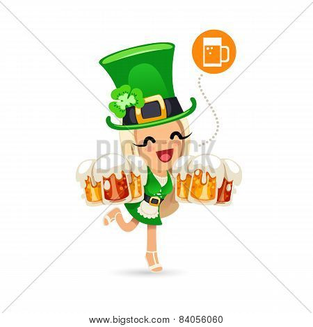 Waitress on the Patricks Day Party