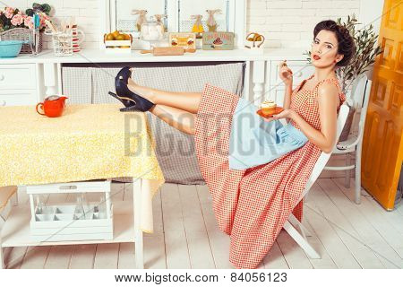 Girl With Feet On The Table.