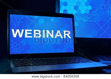 Computer with words webinar.