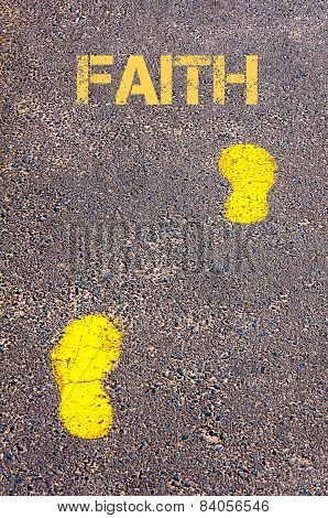 Yellow Footsteps On Sidewalk Towards Faith Message