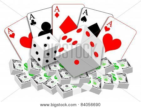 Gambling Illustration Of Cards, Dices And Money