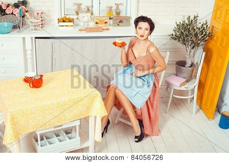 Girl With  Muffin On A Saucer.