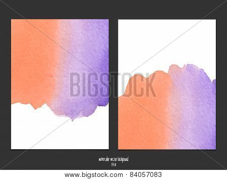 Vector Background With Watercolor Red And Purple.