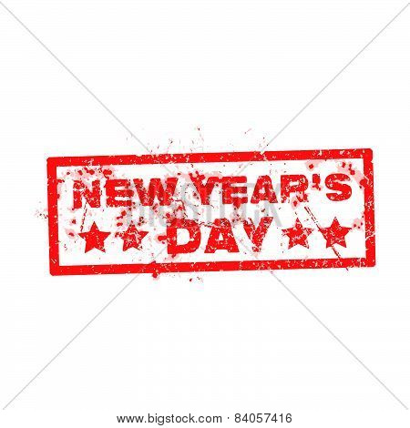 New Year's Day With Red Text Rubber Stamp Over White Background
