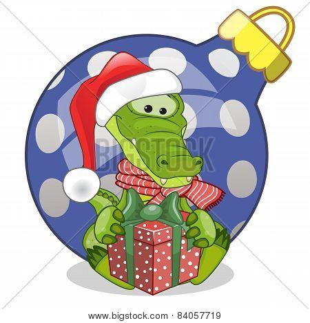 Crocodile In A Santa Hat