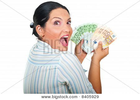 Excited Winner Woman With Money