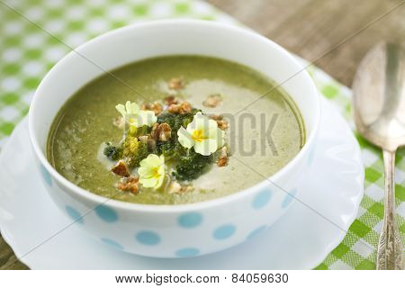 Broccoli  Soup With Roasted Walnuts
