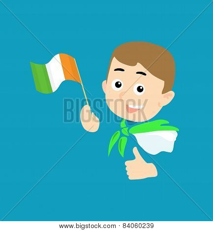 Boy With Flag Of Ireland