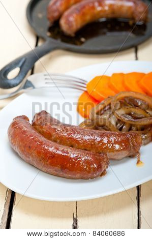 Beef Sausages Cooked On Iron Skillet