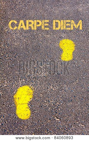 Yellow Footsteps On Sidewalk Towards Carpe Diem Message