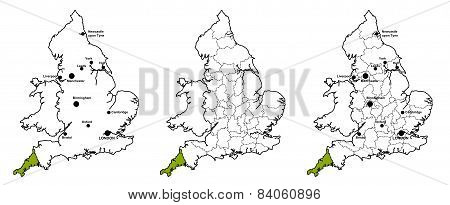 Cornwall located on map of England