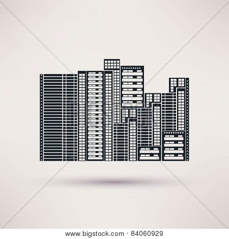 Residential complex. Icon vector in a flat style.