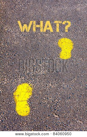 Yellow Footsteps On Sidewalk Towards What Message