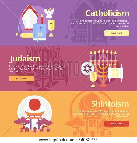 Flat design banner concepts for catholicism, judaism, shintoism. Religion concepts for web banners a