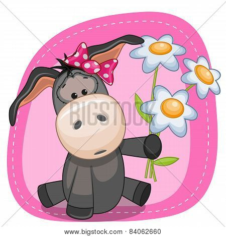 Girl Donkey With Flowers