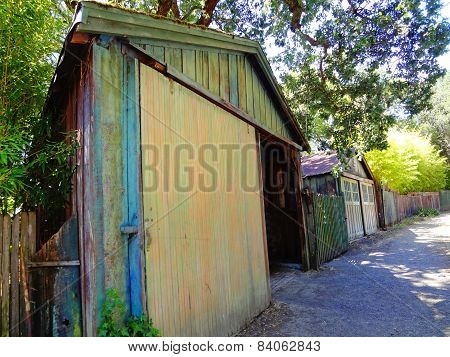 Rustic Painted Shed in Northern California