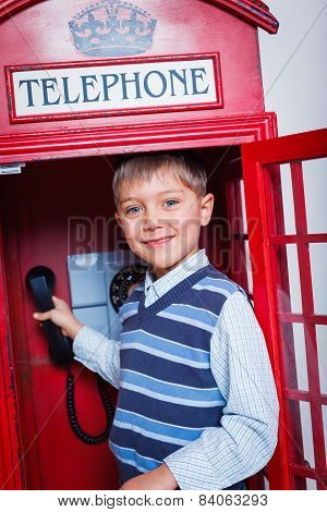 Boy with telephone