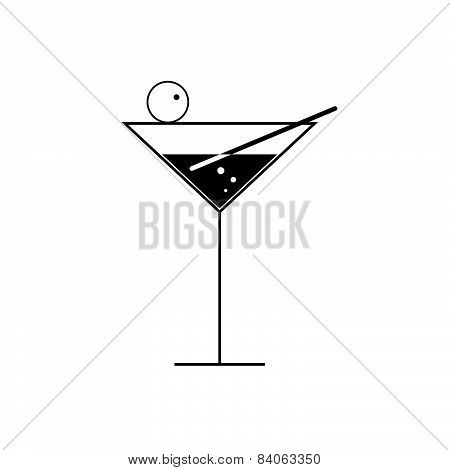 Martini Glass Vector On White