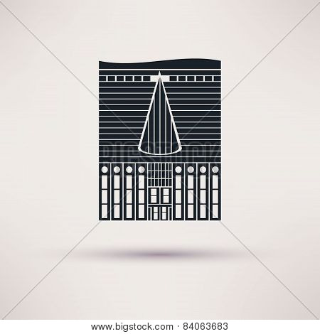 Inn building. Icon in the flat style. Vector.