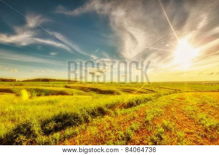Meadow, Evening Sky And Sunset