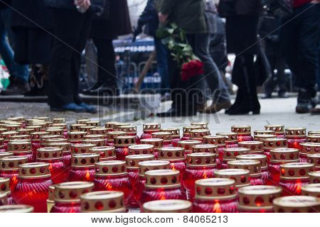 Mourning Candles On The Street Near The Funeral Of Boris Nemtsov